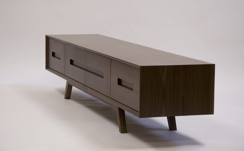 The Cathcart TV Unit Is A Solid Walnut Media Unit With Drawers And  Cupboards To Provide A Sleek Retro Storage Solution For AV Equipment.